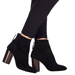 Faith - Black suede 'Biscuit' high block heel ankle boots