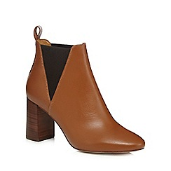 Faith - Tan leather 'Benji' high block heel ankle boots