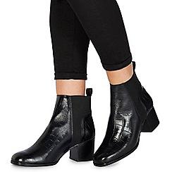 Faith - Black leather 'Belisa' mid block heel ankle boots