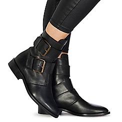 Faith - Black leather 'Buckle' ankle boots