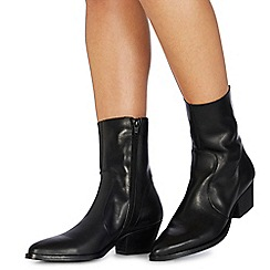 Faith - Black leather 'Bink' mid block heel ankle boots