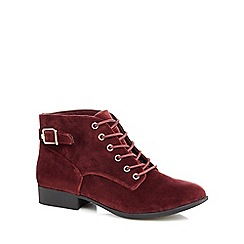 Call It Spring - Maroon velvet 'Gitana' ankle boots