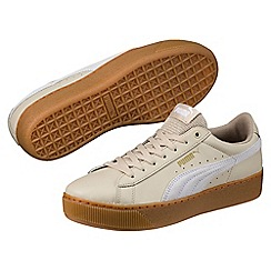 Puma - Light tan leather 'Vikky' trainers
