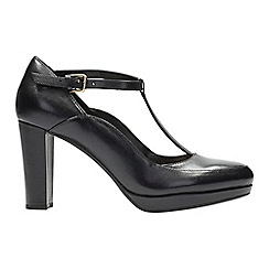Clarks - Black leather 'Kendra Sienna' high block heel T-bar shoes