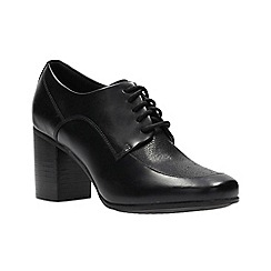 Clarks - Black leather 'Kensett Darla' high block heel lace-up shoes