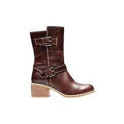 Clarks - Dark tan 'maypearl oasis' calf boots