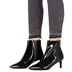 Faith - Black patent 'Batent' mid kitten heel ankle boots