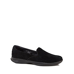 Skechers - Black suede 'Go Step Lite Indulge' slip-on trainers