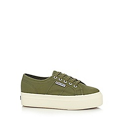 Superga - Green canvas high platform heel trainers