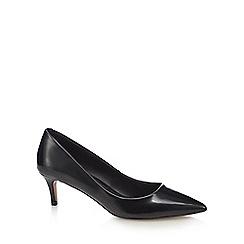 J by Jasper Conran - Black Leather 'Jess' mid kitten heel court shoes