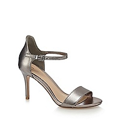 J by Jasper Conran - Silver leather 'Jagger' high stiletto heel ankle strap sandals