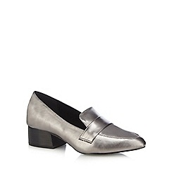 J by Jasper Conran - Silver leather 'Jock' mid block heel loafers