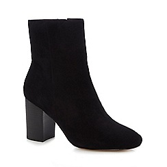 J by Jasper Conran - Black suede 'Jones' high block heel ankle boots
