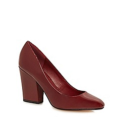 J by Jasper Conran - Red 'Jet' high block heel court shoes