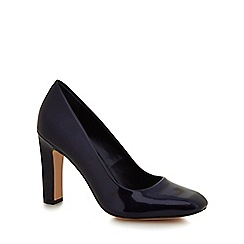 J by Jasper Conran - Navy patent 'Julio' high block heel court shoes