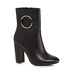 J by Jasper Conran - Black leather 'Jania' high block heel ankle boots
