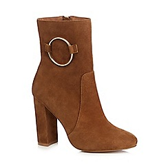 J by Jasper Conran - Tan suede 'Jania' high block heel ankle boots
