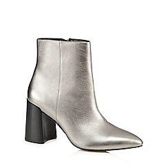 J by Jasper Conran - Silver leather 'Juju' high block heel ankle boots