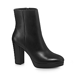 J by Jasper Conran - Black leather 'Jordi' high block heel ankle boots