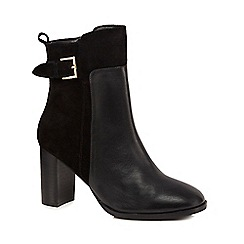 J by Jasper Conran - Black leather 'Jalen' high block heel ankle boots