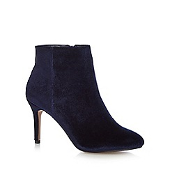 J by Jasper Conran - Navy velvet 'Jenna' high stiletto heel ankle boots