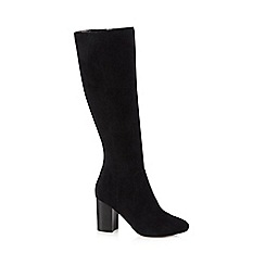 J by Jasper Conran - Black suede 'Jacy' high block heel knee high boots