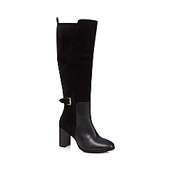 J by Jasper Conran - Black suede 'Jamel' high block heel knee high boots