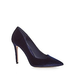 J by Jasper Conran - Navy velvet 'Jiggle' high stiletto heel pointed court shoes