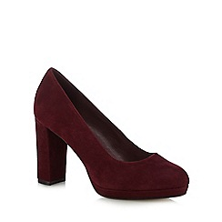 J by Jasper Conran - Dark red suede 'Jayson' high block heel court shoes