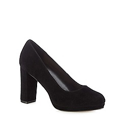 J by Jasper Conran - Black suede 'Jayson' high block heel court shoes