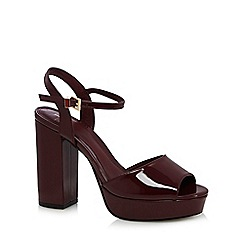 J by Jasper Conran - Wine 'Jolly' high platform ankle strap toe sandals