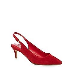 J by Jasper Conran - Red suede 'Jenga' mid kitten heel slingbacks