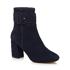 J by Jasper Conran - Navy suede 'Jinger' high block heel ankle boots