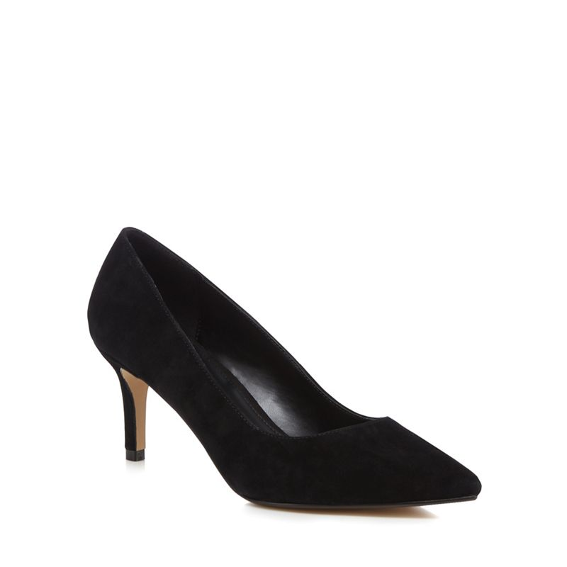 J by Jasper Conran - Black Suede Jasmina Mid Kitten Heel Pointed Shoes