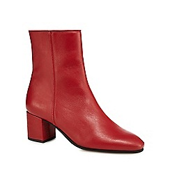 J by Jasper Conran - Red leather 'Janey' mid ankle boots