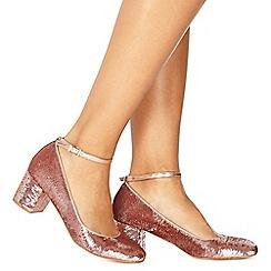 Faith - Pink 'Arnie' mid block heel court shoes