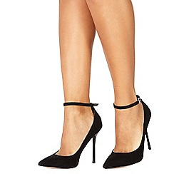 Faith - Black suedette 'Chlo' high stiletto heel pointed shoes