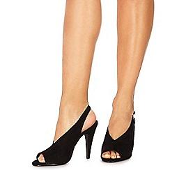 Faith - Black suedette 'Divine' high stiletto heel peep toe sandals