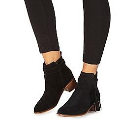 Faith - Black suedette 'Bolt' mid block heel ankle boots
