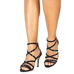 Faith - Black 'Leia' high stiletto heel ankle strap sandals