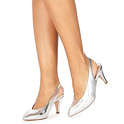 Faith - Silver 'Clarissa' mid kitten heel slingbacks