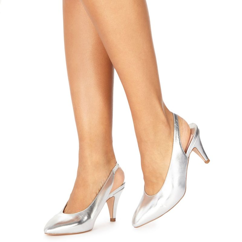 Faith - Silver Clarissa Mid Kitten Heel Slingbacks