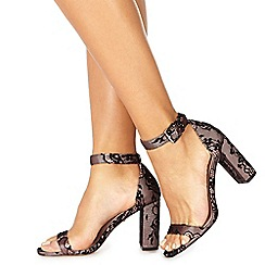 Faith - Multi-coloured lace 'Dorita' high block heel ankle strap sandals