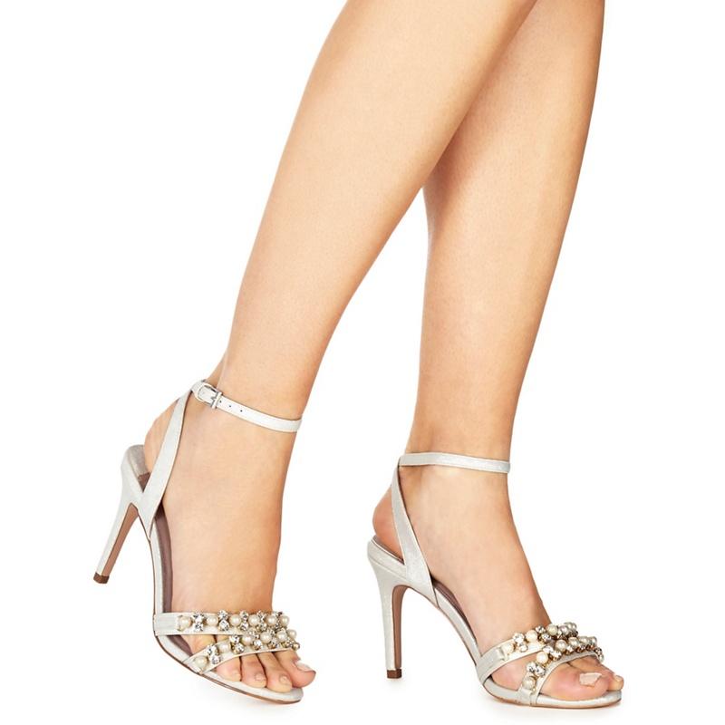 023659729e76 Faith - Ivory Metallic  Darha  High Stiletto Heel Ankle Strap Sandals