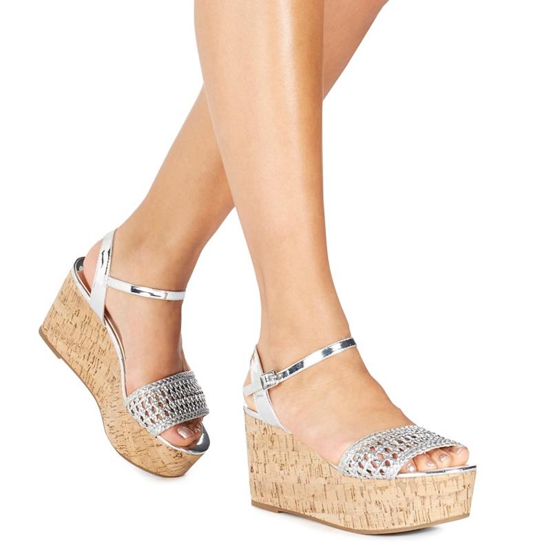 e5dcd95e90d Faith - Silver  Diva  High Flatform Heel Ankle Strap Sandals - Female First  Shopping