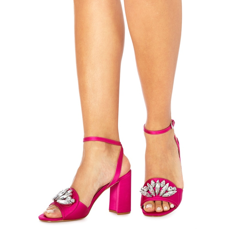 4d1a6666bd87 Faith - Pink Satin  Dec  High Block Heel Ankle Strap Sandals ...