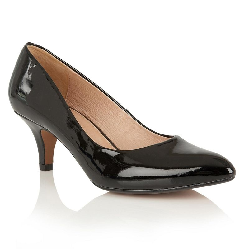 Lotus - Black Suedette Clio Mid Kitten Heel Court Shoes