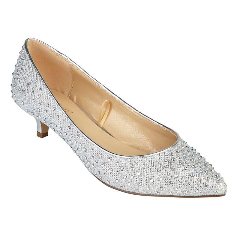 Lotus - Silver Diamante Pinnacle Mid Kitten Heel Court Shoes