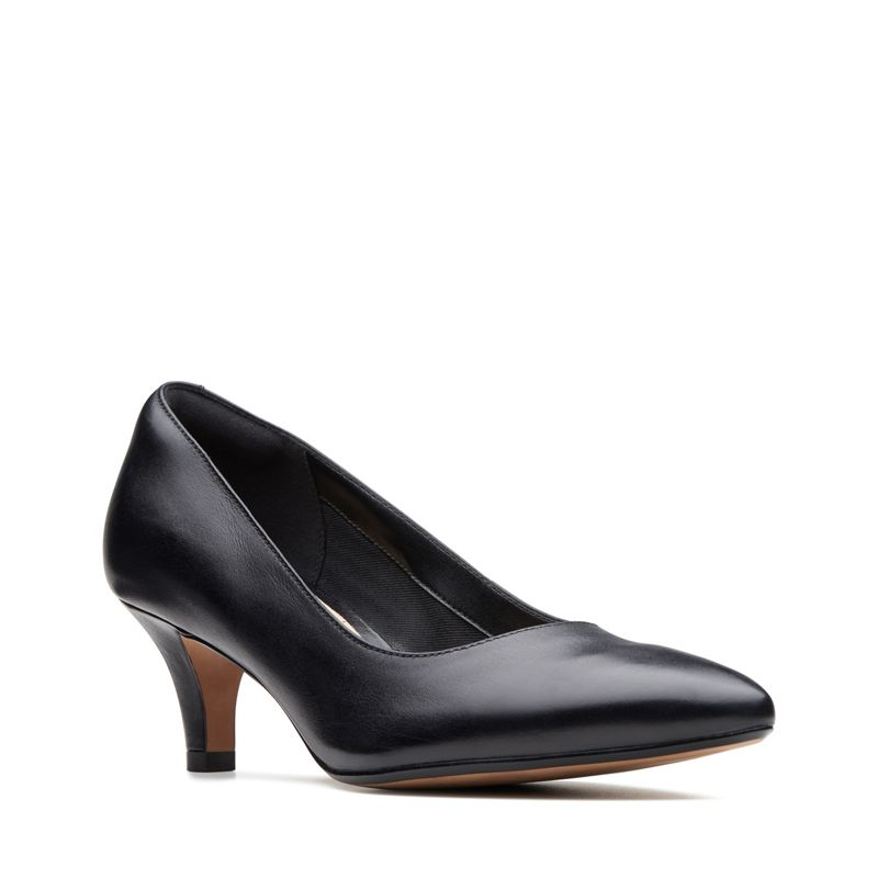 Clarks - Black Leather Linvale Jerica Mid Kitten Heel Court Shoes