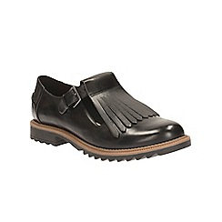 Clarks - Black Leather Griffin Mia Buckle Fastening Fringed Shoe